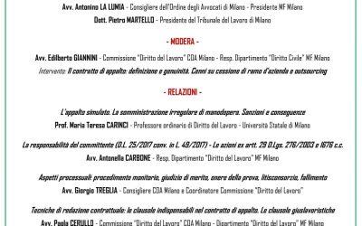 Il Contratto di Appalto: convegno 27/11/2019, Milano